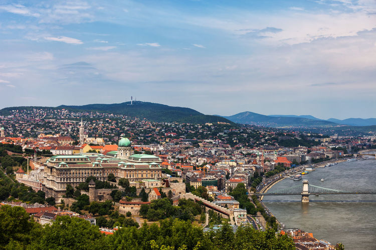 View over Budapest, capital city of Hungary Budapest Hungary Danube Danube River Architecture Building Exterior Built Structure City Cityscape Building Travel Destinations Residential District Travel Water TOWNSCAPE High Angle View Capital Cities  Europe