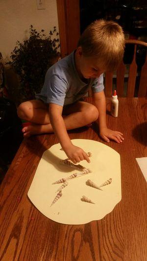 Creative Learning Fun💕 Gluing Seashells Family 🙏🙌 Preschooler Missouri Ozarks, USA 💥💖 Human Hand Artist Table Domestic Life Drawing - Art Product