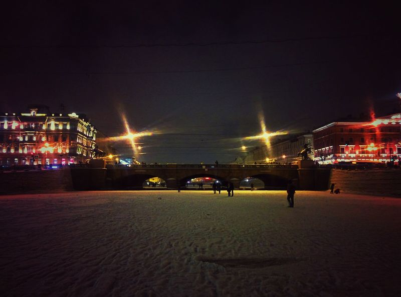 Night Horse Sky City Outdoors People Bridge River Winter Russia St. Petersburg Street Photography Simmetry Snow Ice