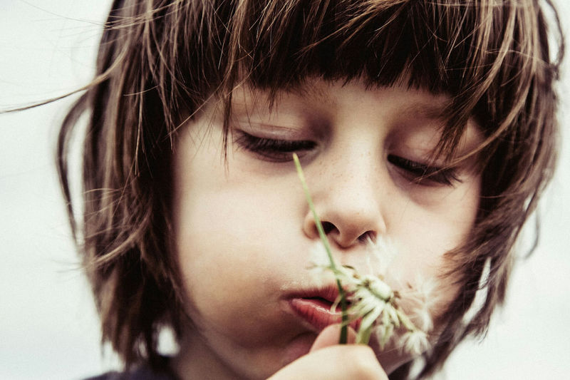 Close-Up Of Boy Blowing Dandelion