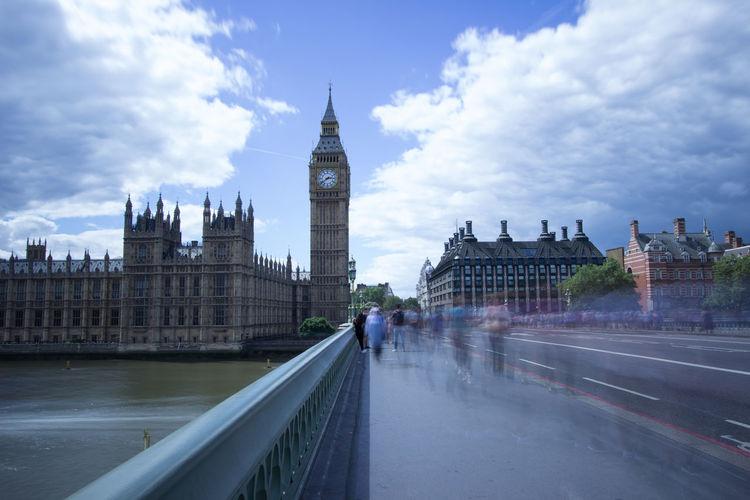 View of people crossing westminster bridge
