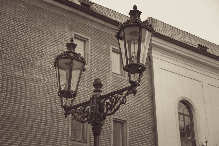 Prague Architecture Building Exterior Built Structure Day Gas Light Light And Shadow Lighting Equipment Low Angle View No People Old Outdoors Street Light Twon Wall Lamp