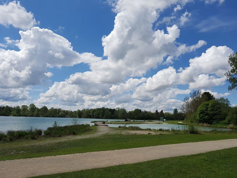 Beauty In Nature Cloud - Sky Day Grass Green Color Growth Lake Landscape Nature No People Outdoors Scenics Sky Tranquility Tree Water