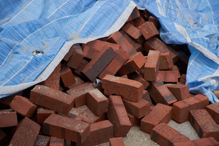 Red bricks on the construction site