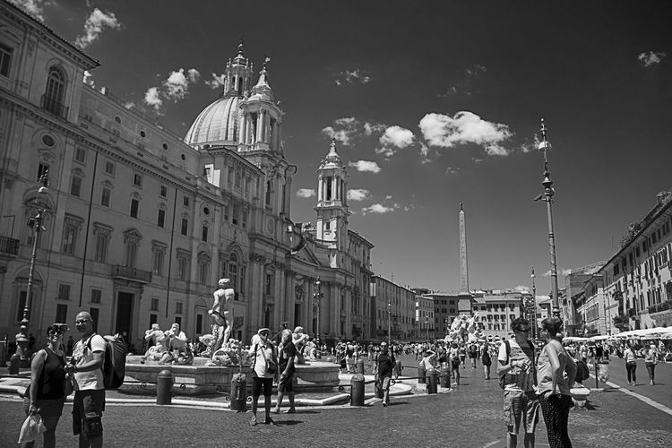 People At Piazza Navona Against Sky