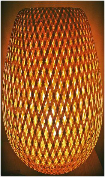 Light Wickerwork Wicker Work Lamp Diamonds