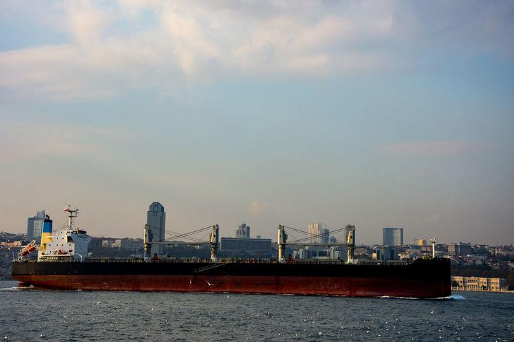 View of oil tanker in sea
