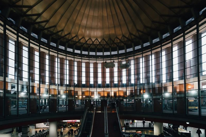 Interior of illuminated railroad station