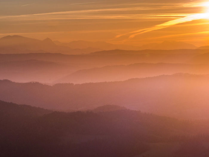 Mountain View Pieniny Poland Poland Poland Is Beautiful Sunrise_Collection Beauty In Nature Cloud - Sky Environment Fog Landscape Mountain Mountains Mountains And Sky Nature No People Orange Color Outdoors Pieniny Scenics - Nature Sky Sun Sunrise Sunset Tranquil Scene Tranquility