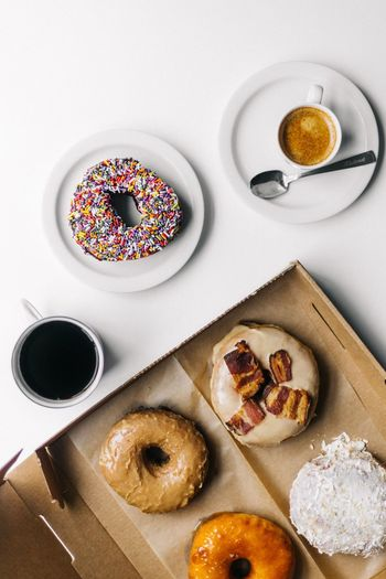 Food And Drink Coffee - Drink Coffee Cup Food Indoors  Freshness Sweet Food High Angle View Table Ready-to-eat Directly Above Drink No People Indulgence White Background Donut Close-up Day
