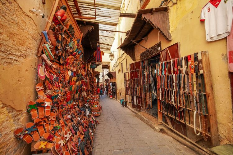 Leather works Fes Morocco Medina Medina De Fez Fes Morocco Ancient Architecture Large Group Of Objects Variation Abundance Choice Market Built Structure Day Retail  Building Multi Colored Footpath Stack The Way Forward Incidental People City Direction Store People Outdoors Alley Street Market