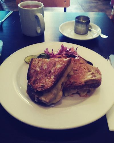 Toasted Sandwich Cheese Tea Food Food And Drink Plate Comfort Food Manchester Uk Cafe