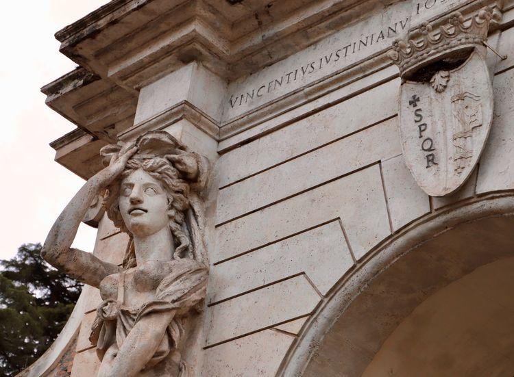 Celio In The Park Italia Italian Art Roma Rome SPQR Villa Celimontana Woman Power Architecture Art And Craft Built Structure Historical History In The Garden Italy Medieval Medieval Architecture Public Garden Sculpture Statue