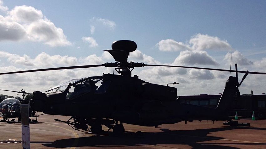 Apache D Longbow RIAT 2015 Royal International Air Tattoo Apache Helicopter Longbow Military Helicopter Gunship Silhouette