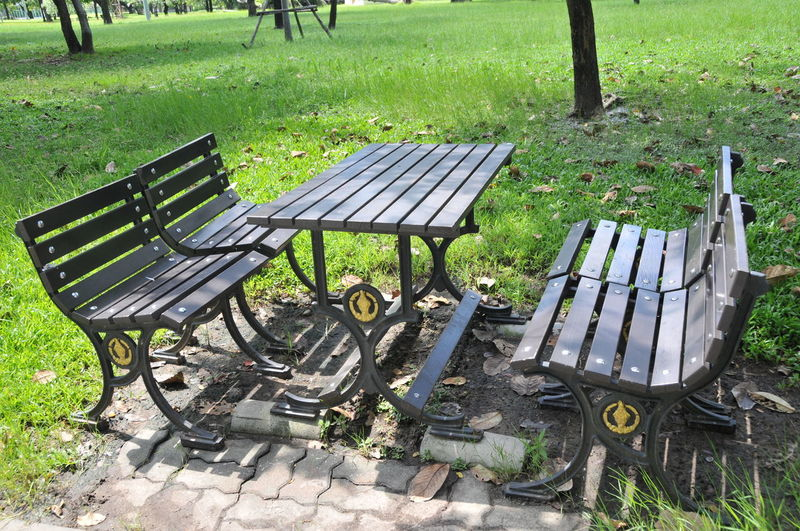 Absence Bench Day Empty Grass Green Color Nature No People Outdoors Park - Man Made Space Picnic Table Relaxation Seat