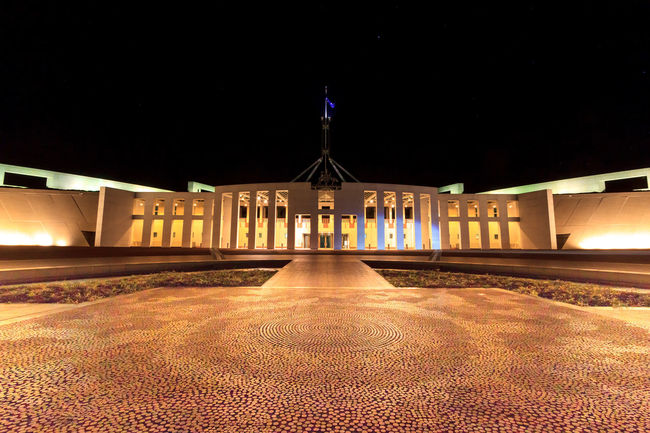 Australia's Parliament House at night Architectural Column Architecture Bridge Building Building Exterior Built Structure City Government History Illuminated Lighting Equipment Nature Night No People Outdoors Parliament Sky The Past Tourism Travel Travel Destinations