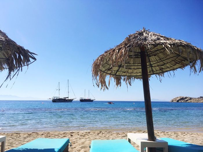 Sea Beach Nature Water Beauty In Nature Horizon Over Water Scenics Clear Sky A Day Tranquility Blue Thatched Roof Tranquil Scene Nautical Vessel No People Sky Mykonos Paradaisebeach Milleombrelli Semptember
