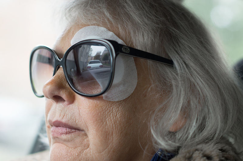 Close-Up Of Woman With Bandage On Eye