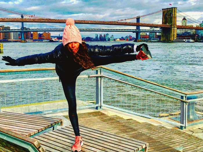 Balance is the key... Yoga Pose Yoga Railing Water One Person River Full Length Bridge - Man Made Structure Real People Women Leisure Activity Built Structure Only Women Beautiful Woman Architecture Young Adult Day Sky Portrait Nautical Vessel Lifestyles Outdoors
