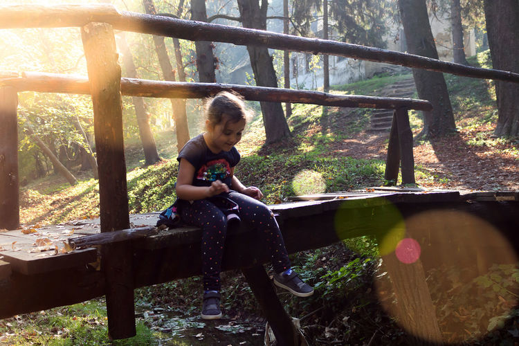 Full length of boy sitting on seat in forest