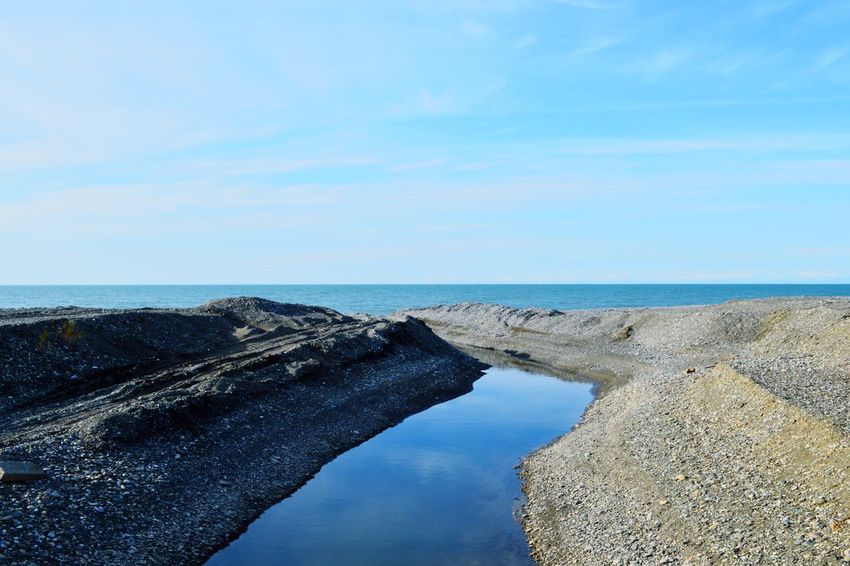 Water Sky Sea Beauty In Nature Scenics - Nature Horizon Tranquility Tranquil Scene Horizon Over Water Blue Nature Beach Day Land No People Idyllic Rock Non-urban Scene Rock - Object Outdoors