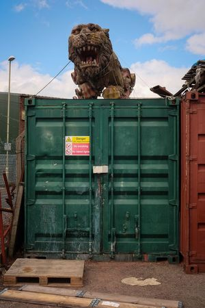 Lion Container Carved Scrap Yard