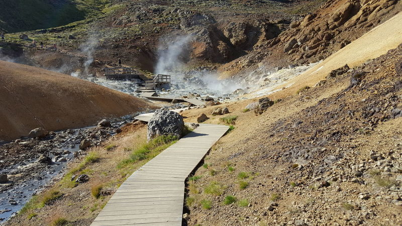 Hot Springs Hot Earth Vulcanic Landscape Vulcano Steam waterfall Scenics Water Tranquility Nature Beauty In Nature Day Outdoors Tranquil Scene Non-urban Scene Flowing Footpath Flowing Water Natural Landmark Cliff Remote Rock Formation Narrow Rock