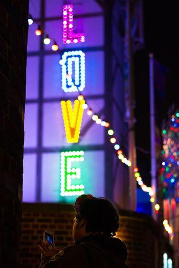Place Of Heart Illuminated Night Real People Building Exterior Light Love London Shakespeare TheGlobe