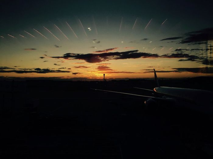 Witnessed the sunset while waiting for the plane:) 回家 Sunset Airplane Travel Sky Journey Airport Airplane Wing Heathrow Waiting Scenics IPhoneography Iphone6 EyeEmNewHere