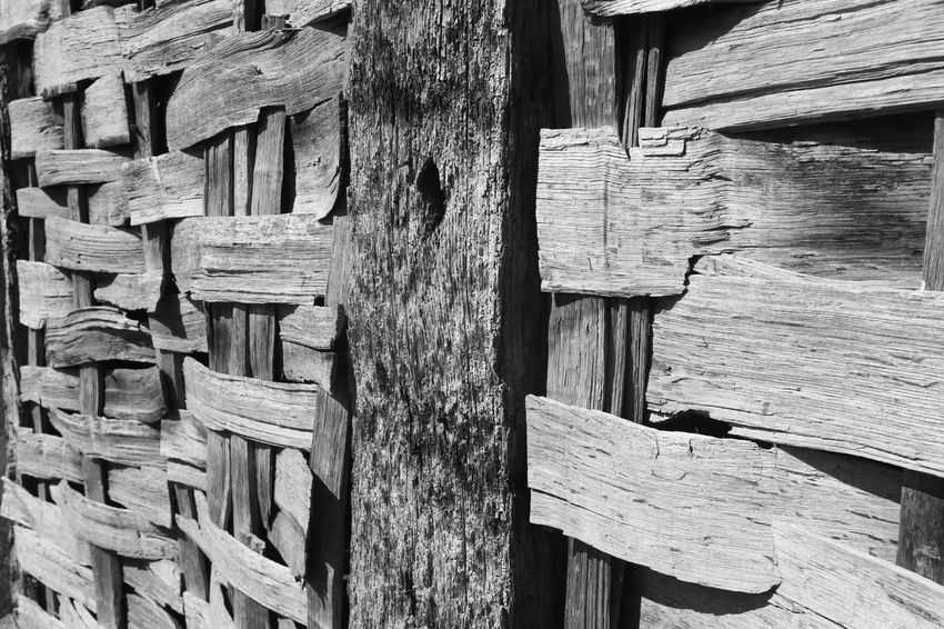 Close-up of wall of old historic building, Bromsgrove, Worcestershire, England. Backgrounds Bromsgrove Close-up Day Full Frame Historical Building Log No People Outdoors Textured  Timber Wood - Material
