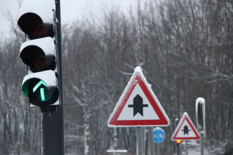 Road sign in winter