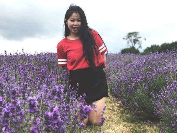 Lavendar Flower Growth Lavender Field Lavender Colored Nature Purple Beauty In Nature Plant Real People One Person Outdoors Lifestyles Young Women Agriculture Casual Clothing Young Adult Leisure Activity Rural Scene