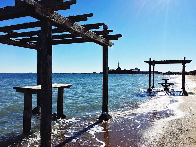 Landscapes With WhiteWall Corpus Christi Beach Corpus Christi, Tx Lexington Battleship