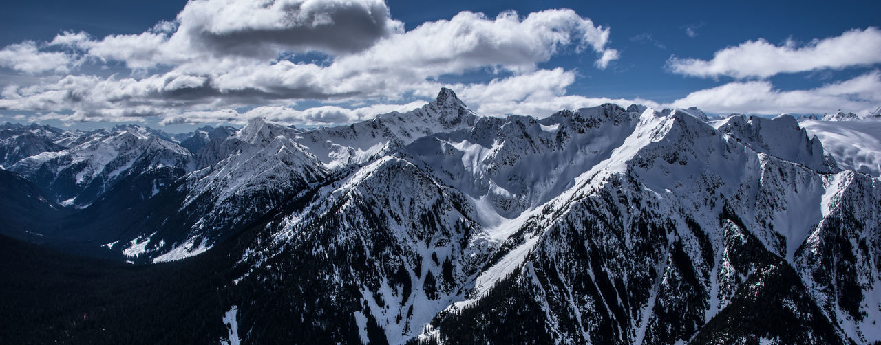 Panoramic view of snowcapped mountains at cascade range
