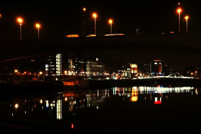 The River Clyde at Night. Night Reflection Illuminated City Business Finance And Industry Sky No People Outdoors Nautical Vessel Architecture Downtown District GLASGOW CITY Scotland 💕 Fresh On Eyeem  Scotland Nightphotography Glasgow Riverside Night Shot Glasgow By Night Night City