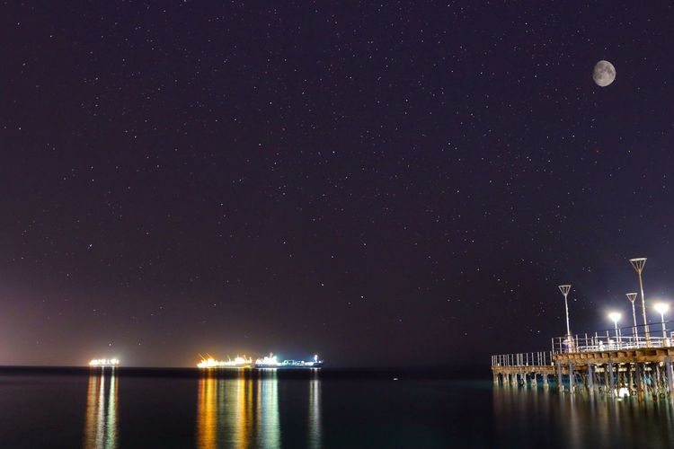Limassol pier Night Water Illuminated Moon Sky Scenics Reflection Sea Star - Space Nature Beauty In Nature Waterfront Tranquility Idyllic No People Tranquil Scene Outdoors Astronomy Built Structure Building Exterior Nightphotography Pier Sea And Sky Seascape