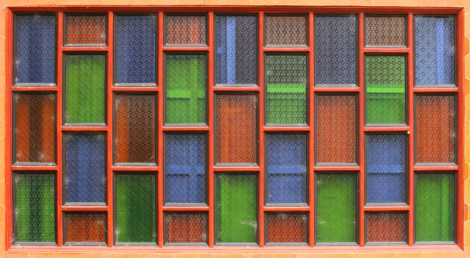 color glass tile wall Green Wall Architecture Backgrounds Blue Close-up Decoration Design Directly Above Flooring Frame Full Frame Geometric Shape Glass In A Row Indoors  Multi Colored No People Pattern Red Repetition Shape Side By Side Simple Wall - Building Feature