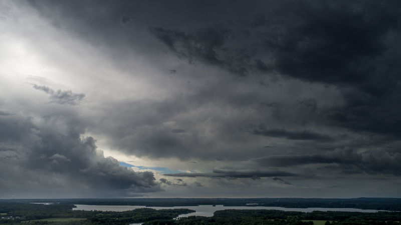 Storm clouds pass over Crab Orchard Lake near Carterville, Illinois. Drone  Illinois Aerial Beauty In Nature Cloud - Sky Day Dji Environment Horizon Lake Landscape Nature No People Non-urban Scene Ominous Outdoors Overcast Power In Nature Scenics - Nature Sea Sky Storm Storm Cloud Thunderstorm Water