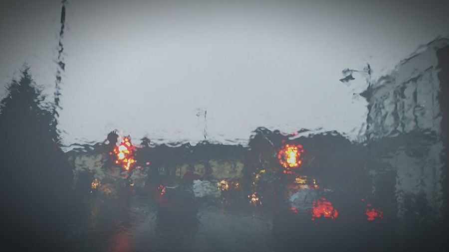 View Through My Windshield Raining Grey Day Rain Streetlight Glare Flare Lights Brake Lights Showcase March