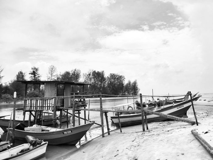 Landing boats Water Outdoors No People Sea Nature Boat Boats Jetty View Black And White Collection  Black And White Blackandwhite Photography Riverbank River Fisherman Fisherman Boat