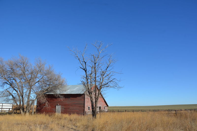 Abandoned barn on field against clear blue sky