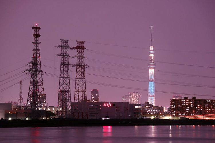 Tokyoskytree Skytree Tower Highvoltage Wires River Riverside Cityscape Nightphotography Nightview Tokyo Japan