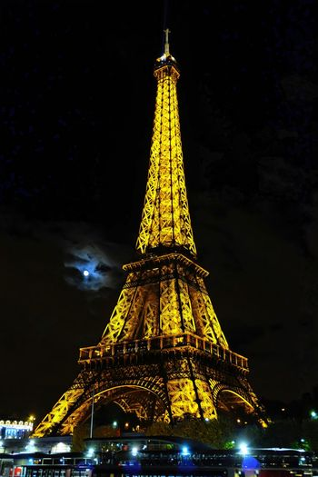 Architechture Cloudy Eiffel Eiffel Tower Moon Moon Light Night Paris Travel Destinations World Expo