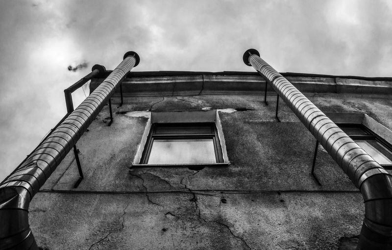 .. clouds machine Black & White Chimney Water Tube Architecture Building Exterior Cloud - Sky Pipe - Tube Pipeline Roof Edge Window EyeEmNewHere
