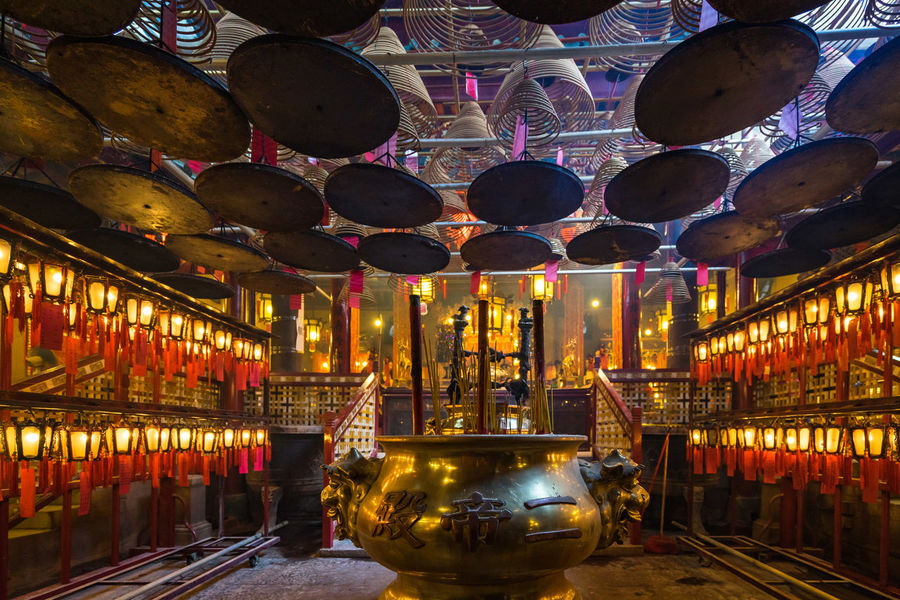 Man Mo Temple, Hong Kong Hong Kong Hong Kong City Man Mo Temple Architecture Built Structure Business Ceiling Creativity Decoration Electric Lamp Glowing Hanging Illuminated In A Row Indoors  Large Group Of Objects Lighting Equipment Mode Of Transportation Multi Colored Night No People Reflection Transportation