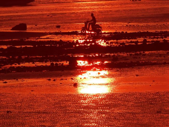 Orange Color Water Sunset Silhouette Real People Nature Sea Reflection Beach Sunlight Sky Beauty In Nature People Lifestyles Outdoors Land Men Transportation Two People Riding