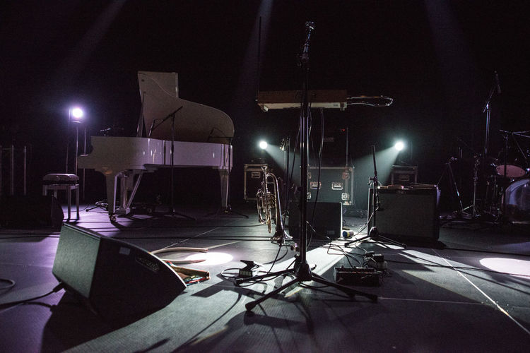 Arts Culture And Entertainment Beautifully Organized Behind The Scenes Broadcasting Concert Illuminated Indoors  Large Group Of Objects Lighting Equipment Mic Stand Microphone Music Night No People Piano Sound Equipment Sound Reinforcement Technology The Media Theremin TakeoverMusic