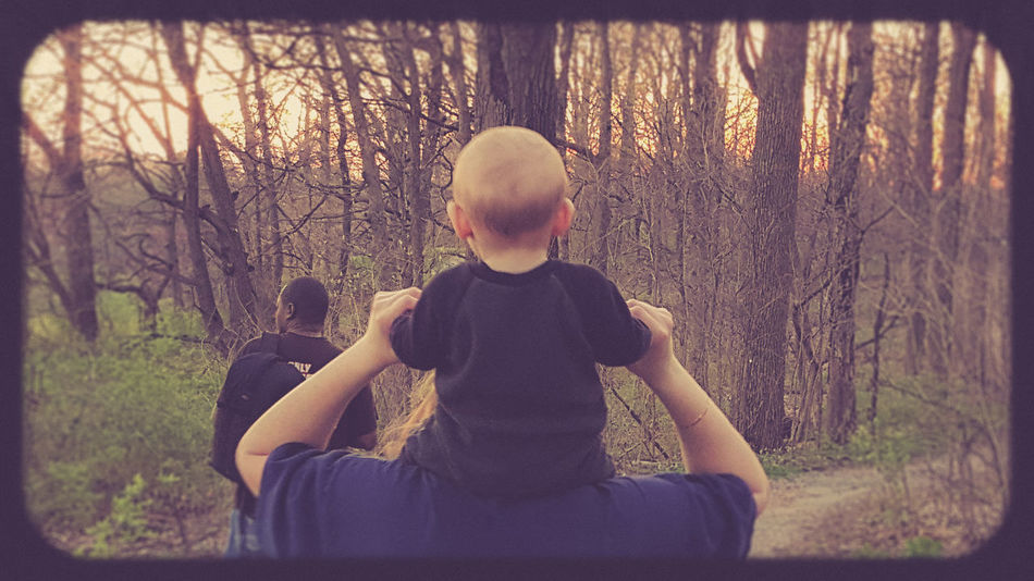Baby Baby Boy Boy Footpath High Section Parenthood Parentlife  Pathway People People Walking  Piggy Back Ride  Rear View Stroll Through Nature Sunset Trees Trees & Sky Trees And Sky Walk Through The Woods Woods