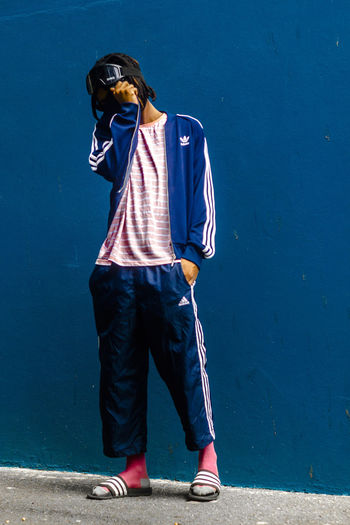 EyeEm Selects A thing for stripes Standing Casual Clothing Men Full Length Blue Adidas