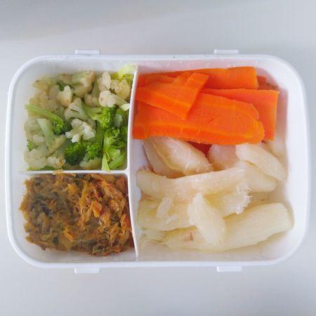 Food Foodporn Clean Eating Broccoli Cauliflower Carrots Cassava Manioc SaltFish COD Partition Separate
